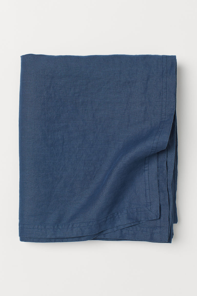 Washed linen tablecloth - Dark blue - Home All | H&M IE