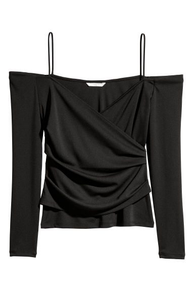 Draped off-the-shoulder top - Black - Ladies | H&M