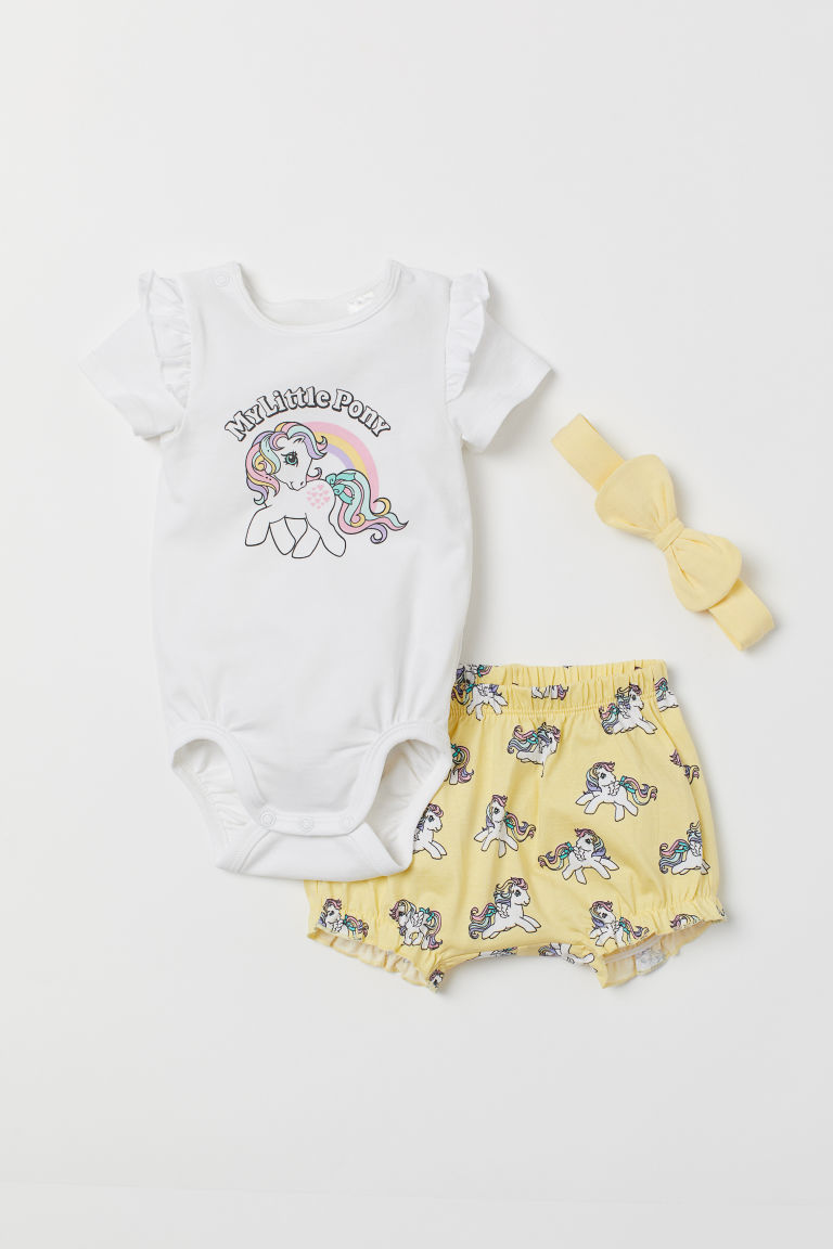 3-piece jersey set - Yellow/My Little Pony - Kids | H&M