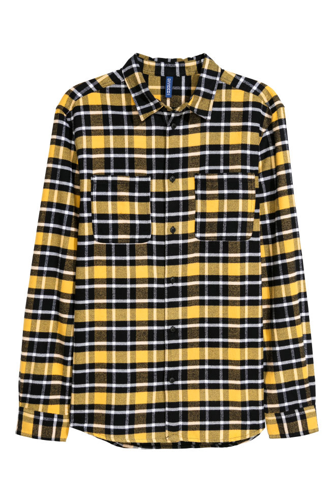 Flannel Shirt - Yellow black plaid - Men  dd6794463ad
