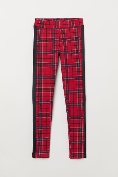 Leggings in sturdy jersey - Red/Checked - Kids | H&M
