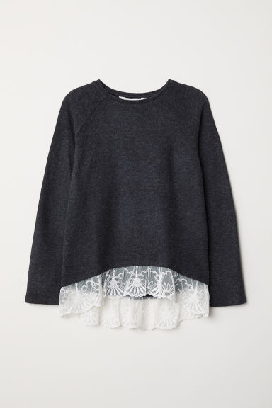Fine-knit jumper with lace - Dark grey marl - Kids | H&M