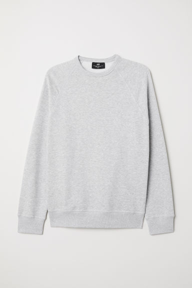 Sweatshirt Regular Fit - Light grey marl - Men | H&M