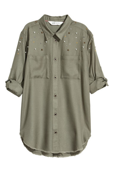 Shirt with studs - Khaki green -  | H&M CN