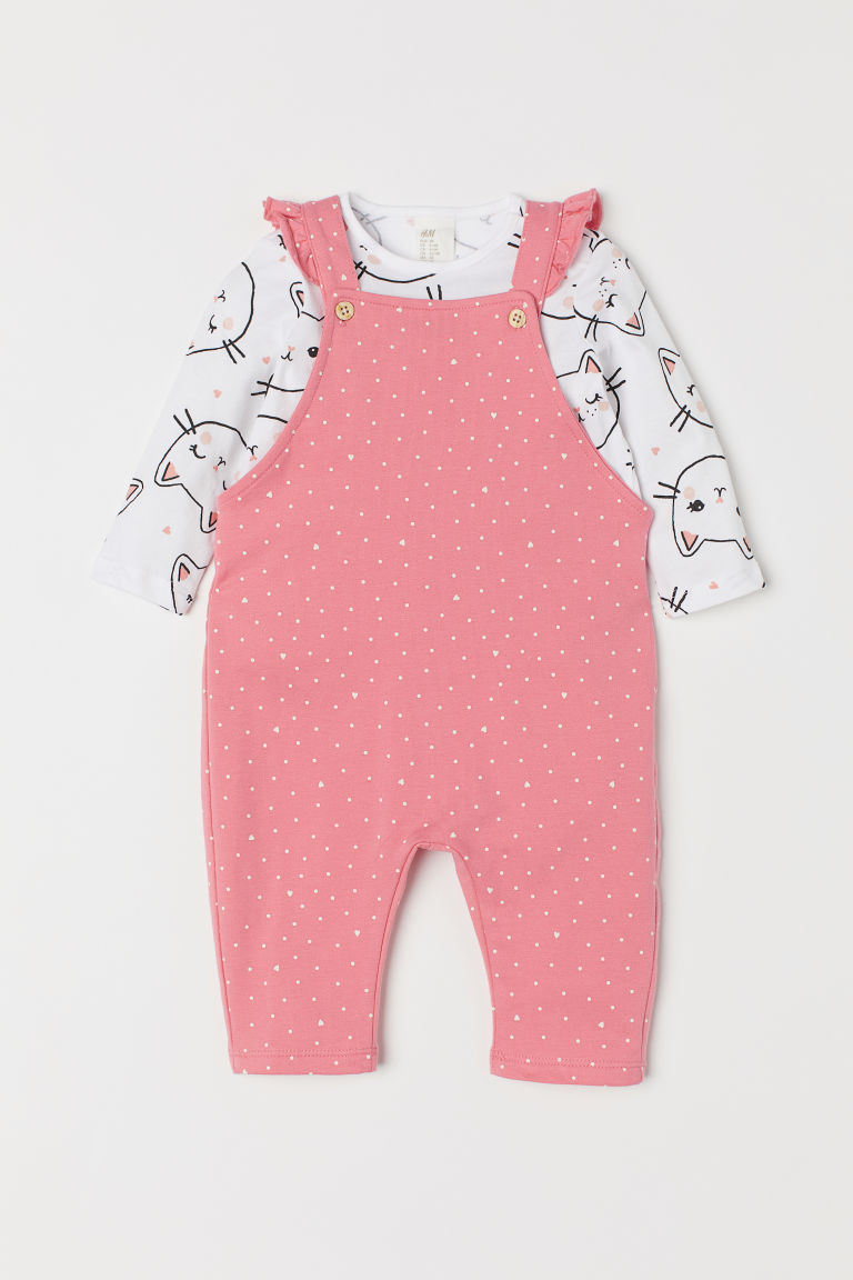 Top and dungarees - Pink/Cats - Kids | H&M CN