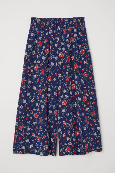 Silk trousers - Dark blue/Floral - Ladies | H&M