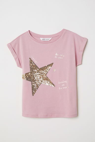 T-shirt with a motif - Old rose/Star - Kids | H&M