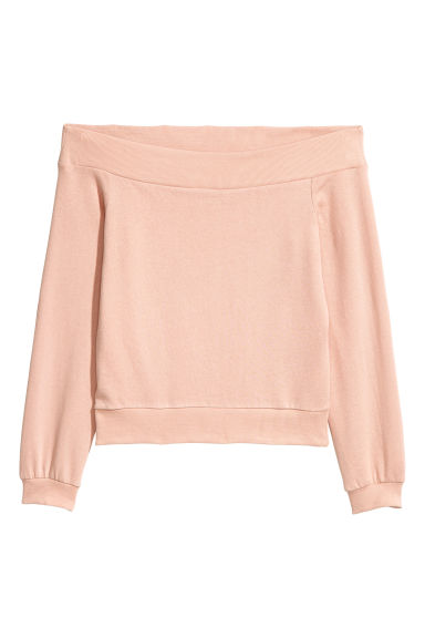 Off-the-shoulder top - Powder pink -  | H&M