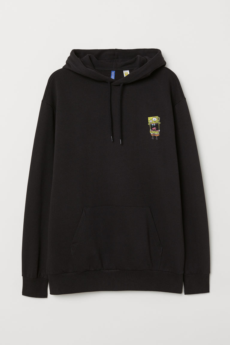 Printed hooded top - Black/Sponge Bob - Men | H&M IN