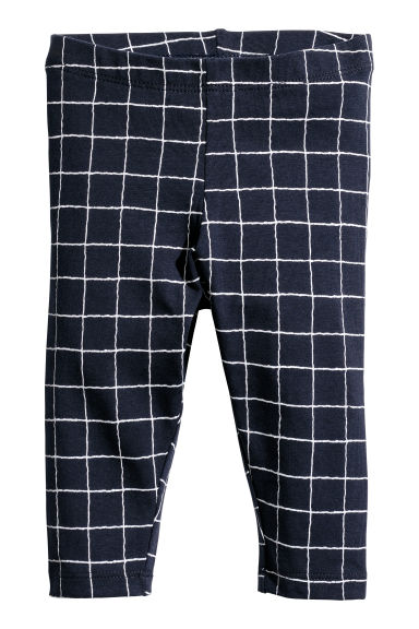 Jersey leggings - Dark blue/Checked - Kids | H&M