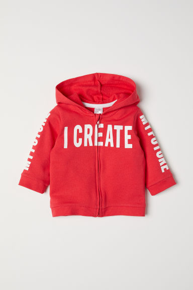 Printed hooded jacket - Red/My Future - Kids | H&M