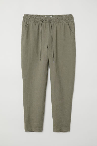 Linen joggers - Khaki green - Ladies | H&M CN