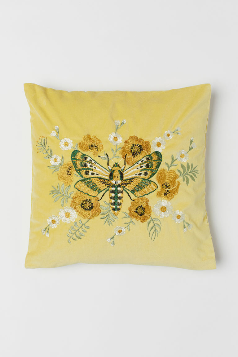 Embroidered Cushion Cover - Yellow/butterfly - Home All | H&M US