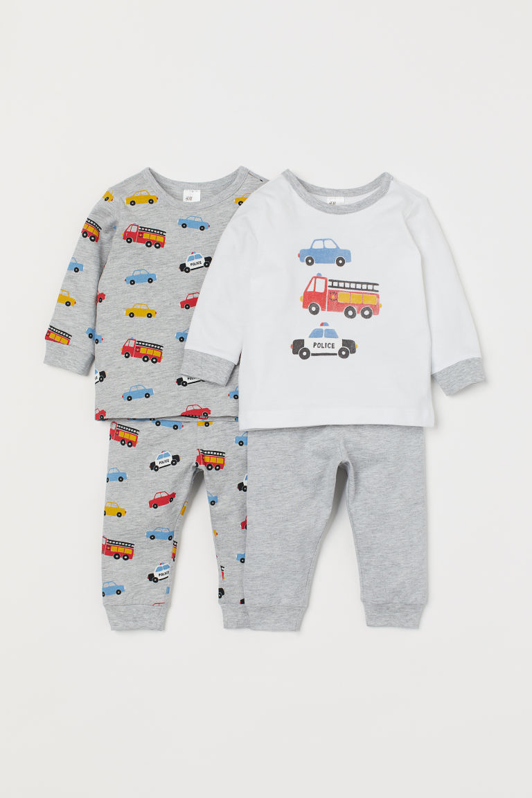 2-pack pyjamas - Light grey marl/Cars - Kids | H&M GB