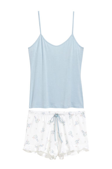 Pyjama top and shorts - White/Floral - Ladies | H&M