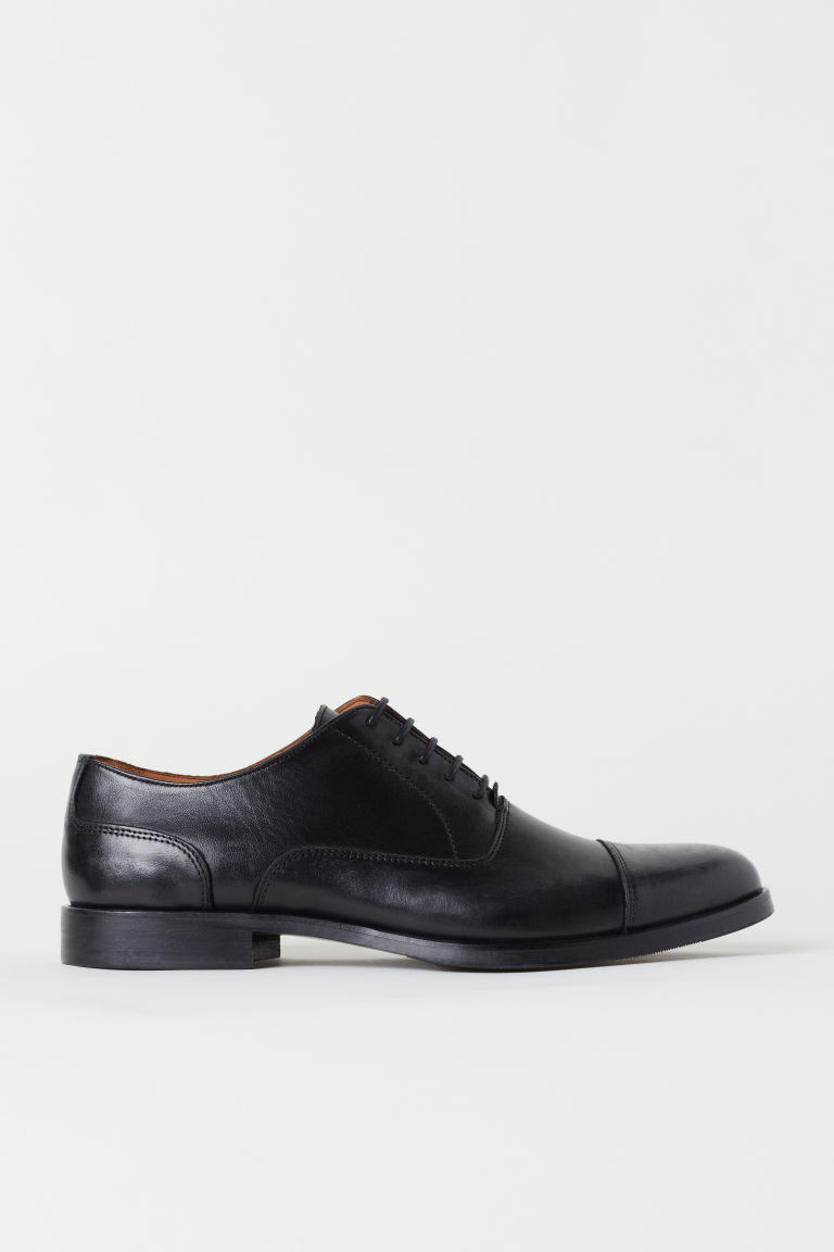 Leather Oxford shoes - Black - Men | H&M