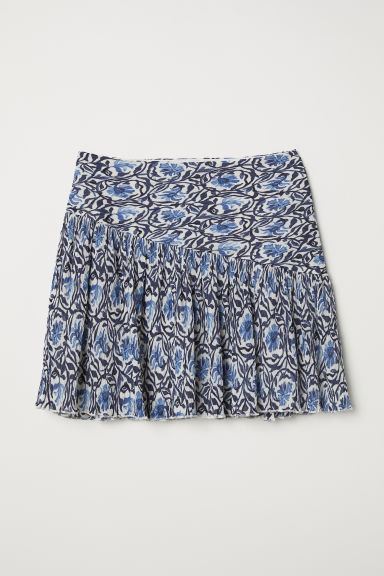 Crinkled skirt - White/Blue patterned - Ladies | H&M