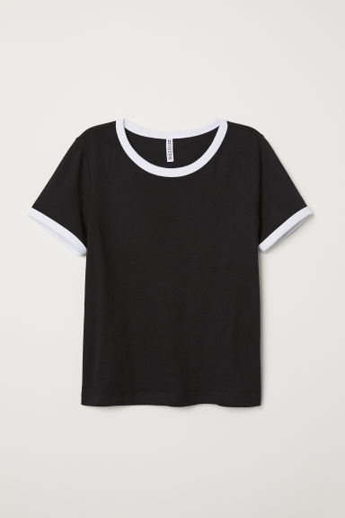 Short T-shirt - Black - Ladies | H&M CN
