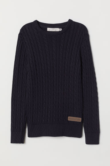 Cable-knit jumper - Dark blue - Kids | H&M CN