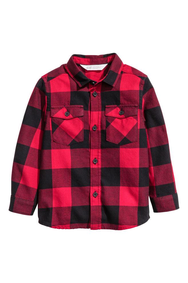 Flanelová košile - Červená kostkovaná - DĚTI  c429ede1b9