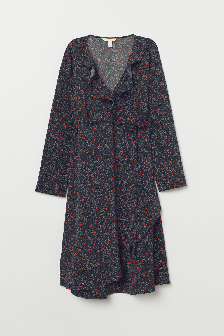 MAMA Wrap dress - Black/Hearts - Ladies | H&M
