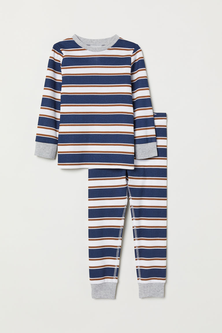 Jersey pyjamas - Dark blue/Striped - Kids | H&M