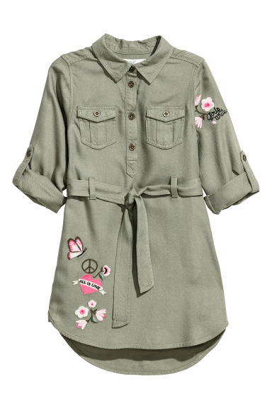 Shirt dress with a belt - Khaki green/Flowers -  | H&M CN