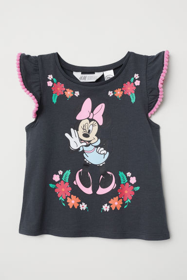 Flounce-sleeved top - Dark grey/Minnie Mouse - Kids | H&M