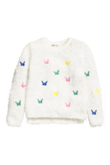 Fluffy jumper - White/Butterflies - Kids | H&M