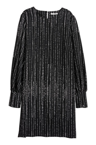 Dress with puff sleeves - Black/Patterned -  | H&M