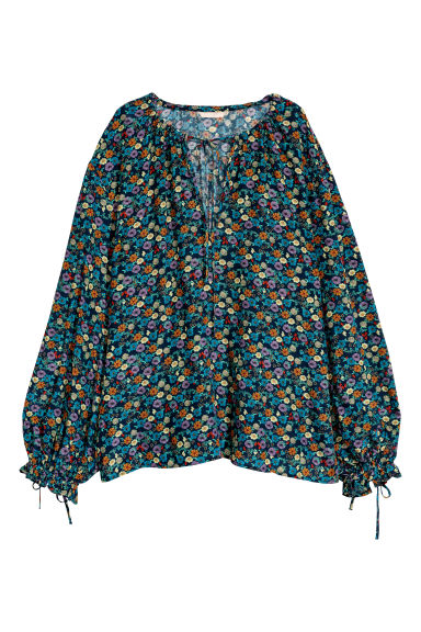 Wide blouse - Dark blue/Floral - Ladies | H&M