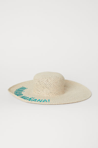 Straw hat with embroidery - Natural/¡Mañana! - Ladies | H&M