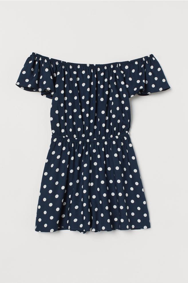 8678ef7380b186 Off-the-shoulder playsuit - Dark blue White spotted - Ladies
