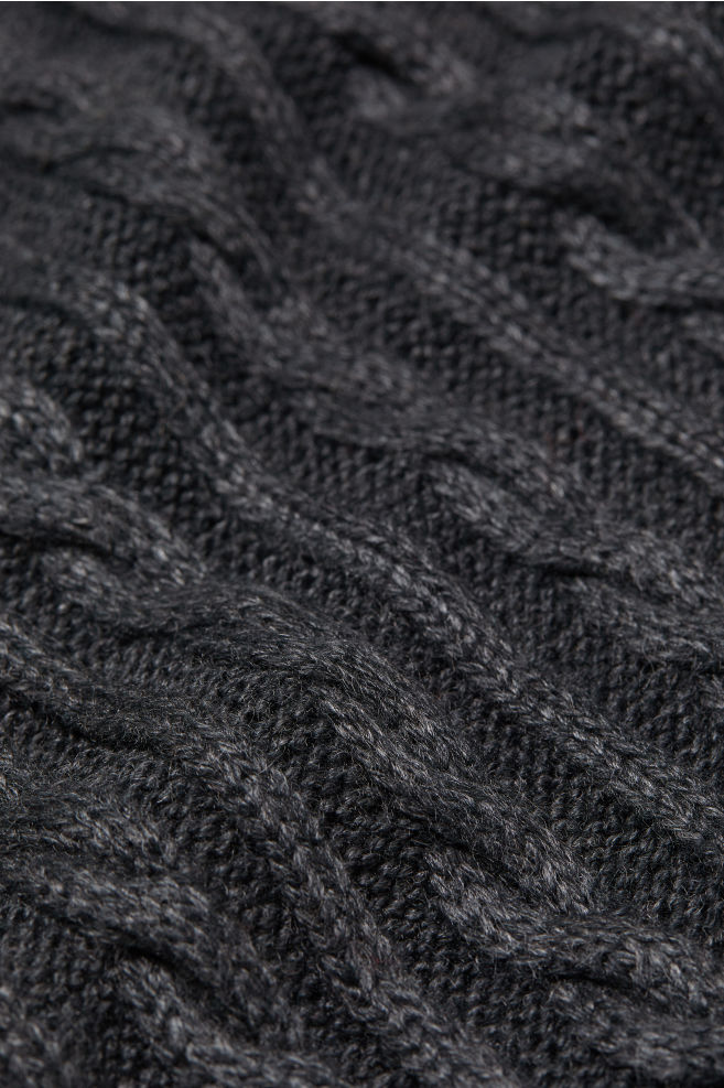 Cable Knit Scarf Dark Gray Melange Men H M Us