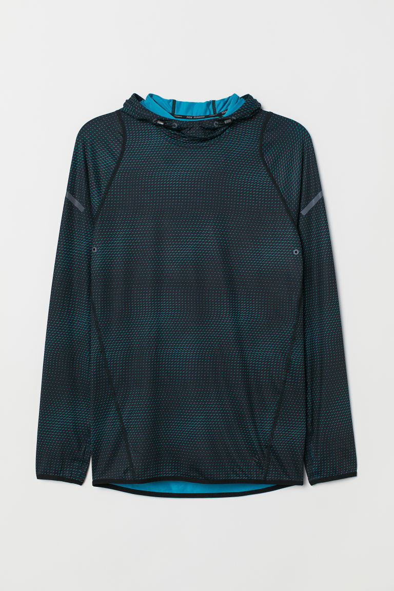 Hooded running top - Black/Turquoise patterned - Men | H&M