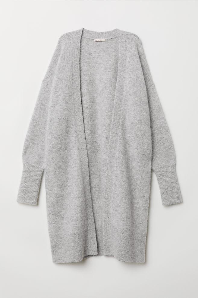 Gilet long en laine mélangée - Gris clair chiné - FEMME   H M ... c5f836c3c260