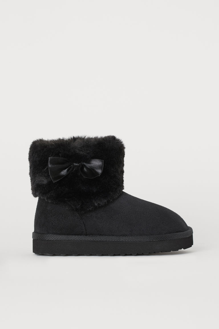 Faux fur-lined boots - Black - Kids | H&M