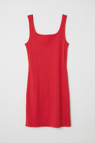 Ribbed jersey dress - Red - Ladies | H&M