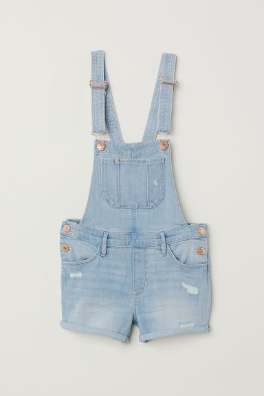 Denim dungaree shorts - Light blue denim - Kids | H&M