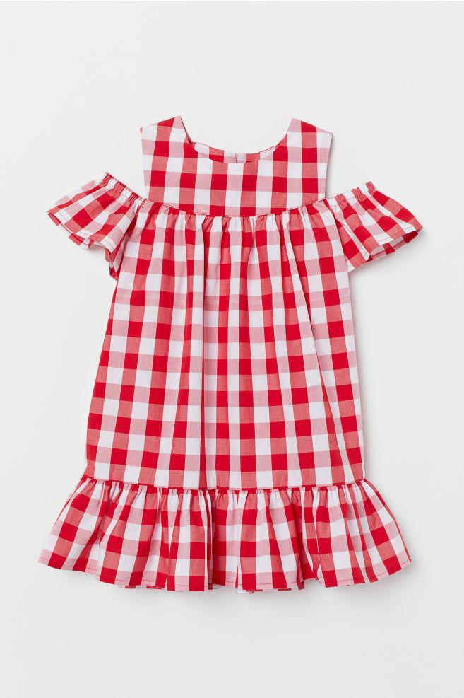 91f1b30682b4 ... Šaty s otvormi na pleciach - červená károvaná - DETI