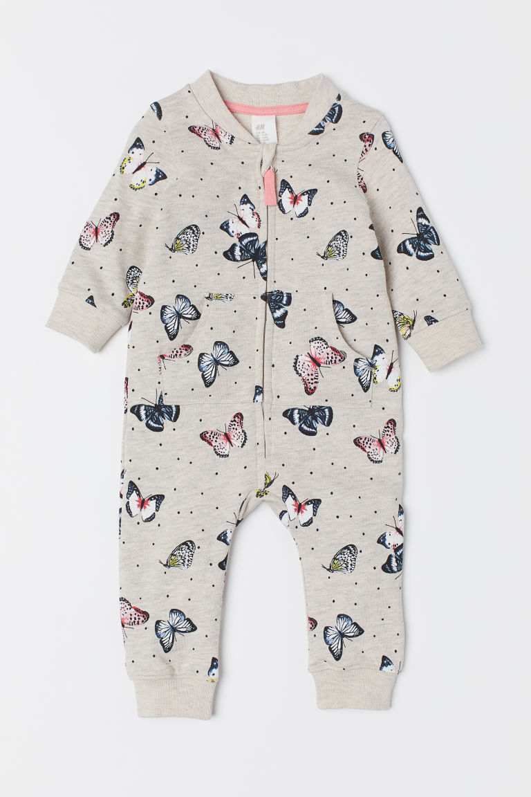 Sweatshirt all-in-one suit - Beige marl/Butterflies - Kids | H&M CN