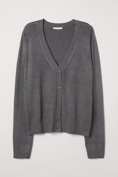 Fine-knit Cardigan - Dark gray melange - Ladies | H&M US