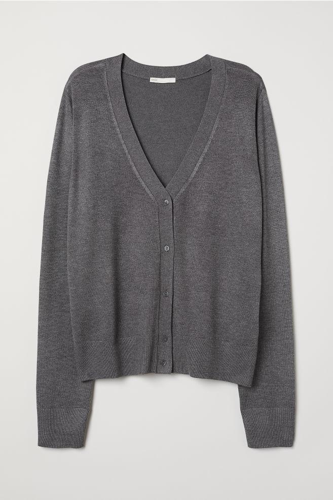 36818604a07e Fine-knit Cardigan - Dark gray melange - Ladies