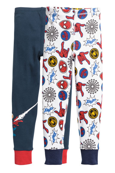 2-pack longjohns - Dark blue/Spider-Man - Kids | H&M