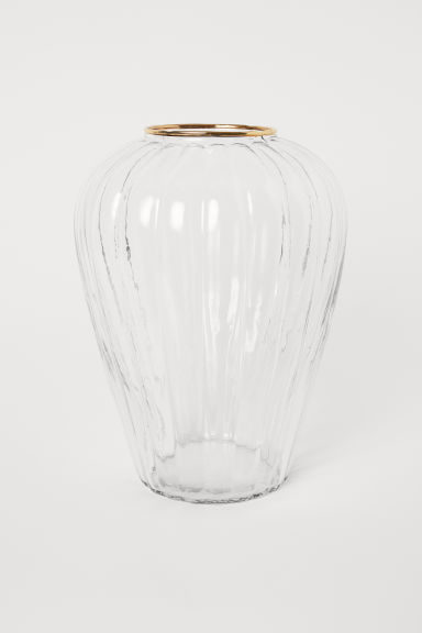 Fluted vase - Clear glass - Home All | H&M CN
