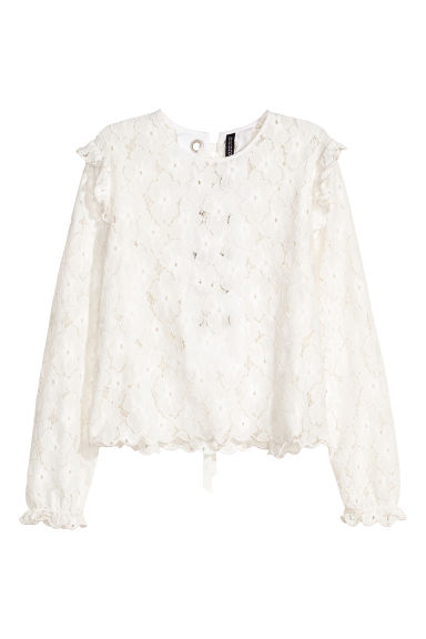 Lace blouse with lacing - White -  | H&M IE