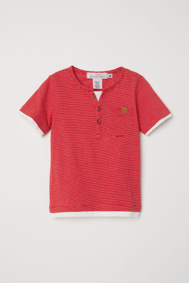 Cotton T-shirt - Red/Striped -  | H&M