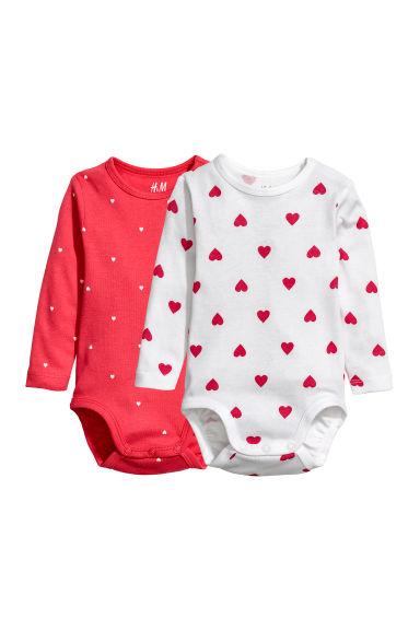 2-pack long-sleeved bodysuits - Red/Hearts - Kids | H&M