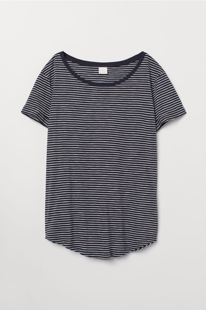 e4ecf21390ae6 Slub Jersey T-shirt - Dark blue white striped - Ladies