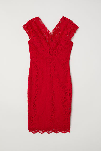 Lace V-neck dress - Red - Ladies | H&M